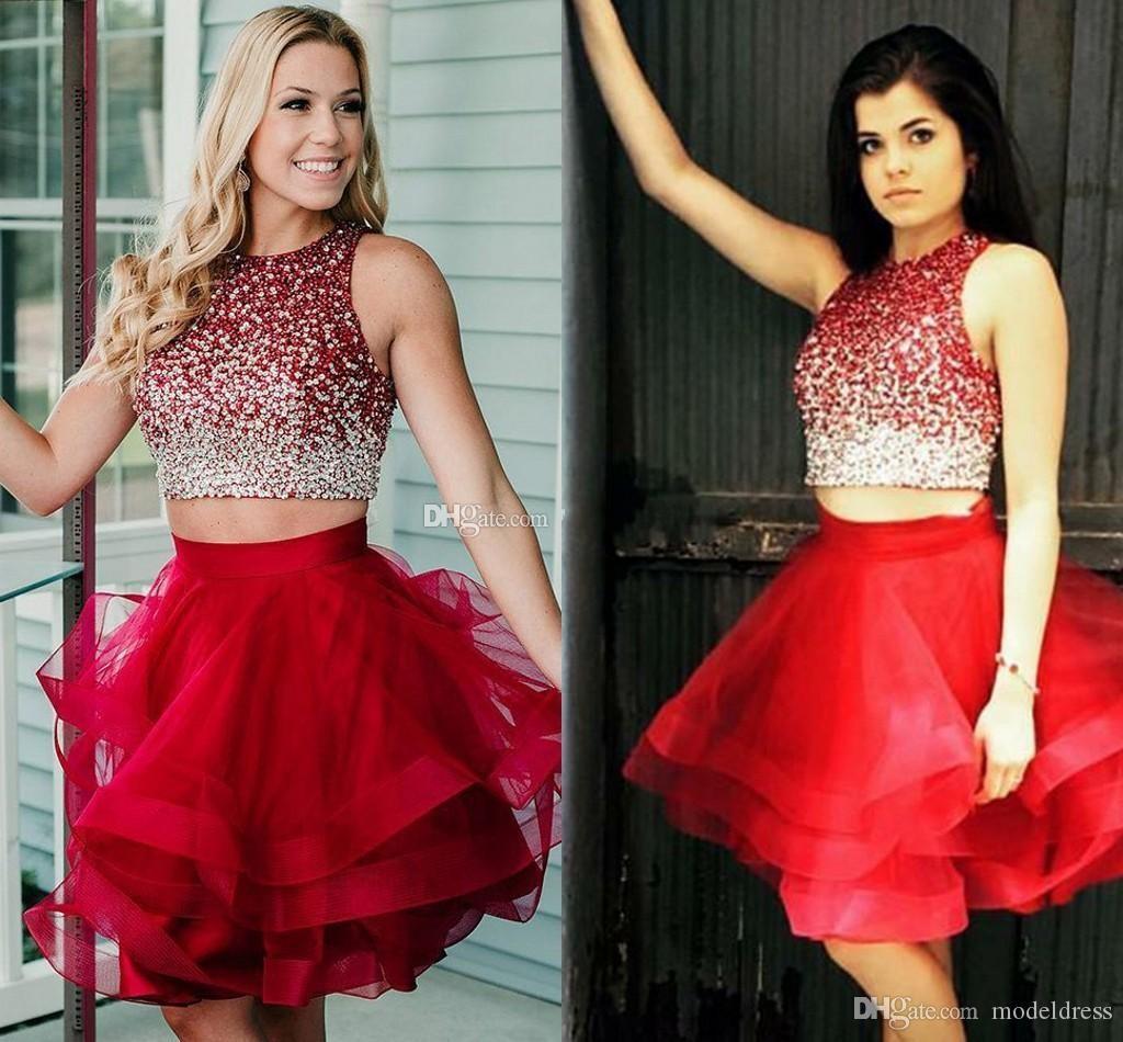 İki Adet Kırmızı Kısa Mezuniyet Elbiseleri Sequins Tül Katmanlı Ruffles Balo Gelinlik Modelleri Zarif Yeni Geliş Kısa Parti Elbiseler 2019