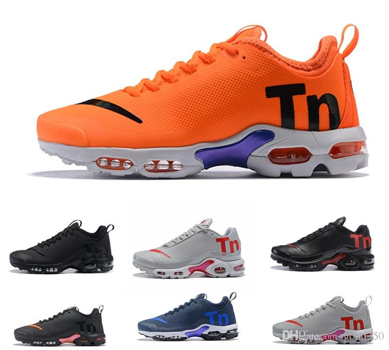 the latest 4e547 83fe0 2018 New Air Mercurial Plus Tn Ultra SE Black White Orange Running Grey  Shoes Outdoor TN Shoes Women Mens Trainers Outdoor Sneakers 36 46 Neutral  ...