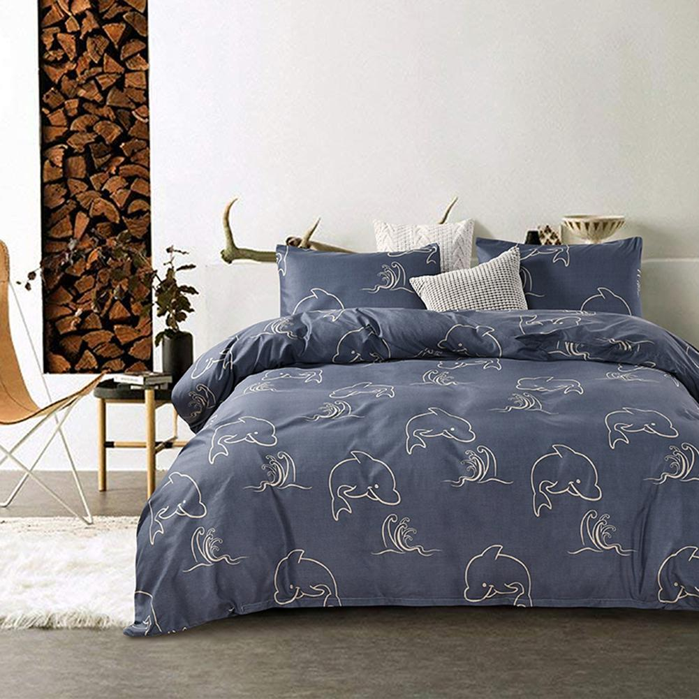 Boho Duvet Cover Set Microfiber Fabric Dolphin Bay Home Bedding