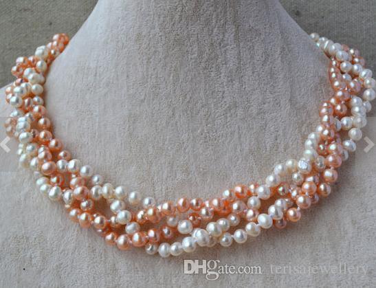 Echte Perlen Schmuck, 18inches 4 Reihen 6-7mm Weiß-Rosa-Farben-echten Frischwasserperlen-Halskette, Hochzeit Geburtstag Schmuck