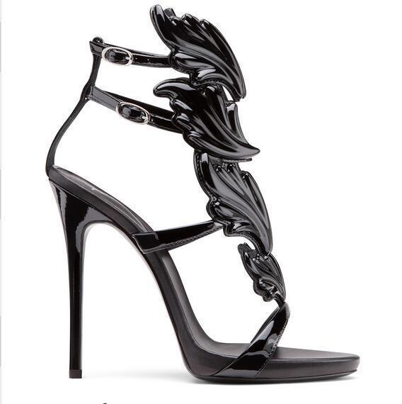 Großhandel 2018 Designer Flame Metall Flügel Flügel High Heel Sandaletten Gold Nude Black Party Events Schuhe Größe 35 Bis 40 Von New Open201088,