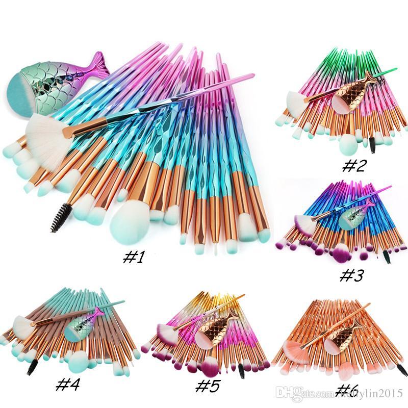 인어 메이크업 브러쉬 세트 21pcs 재단 블러시 아이 섀도우 눈 다이아몬드 작은 물고기 꼬리 윤곽선 블렌딩 브러쉬 키트 도구 메이크업