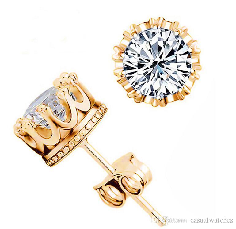 Band Yeni Taç Düğün Saplama Küpe 925 Ayar Gümüş CZ Benzetilmiş Diamonds Nişan Güzel Takı Kristal Kulak Yüzük
