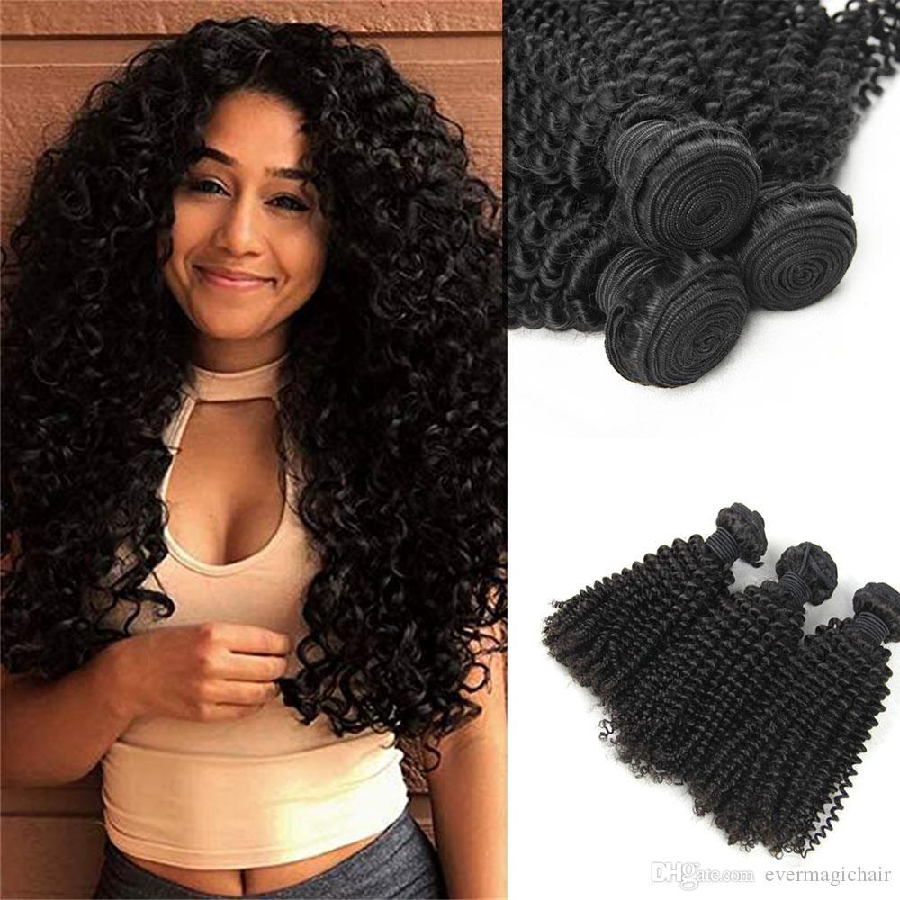 8A Capelli cutanei allineati di alta qualità Capelli peruviani ricci crespi crespi 3 Bundles Estensioni brasiliane ricci crespi capelli umani