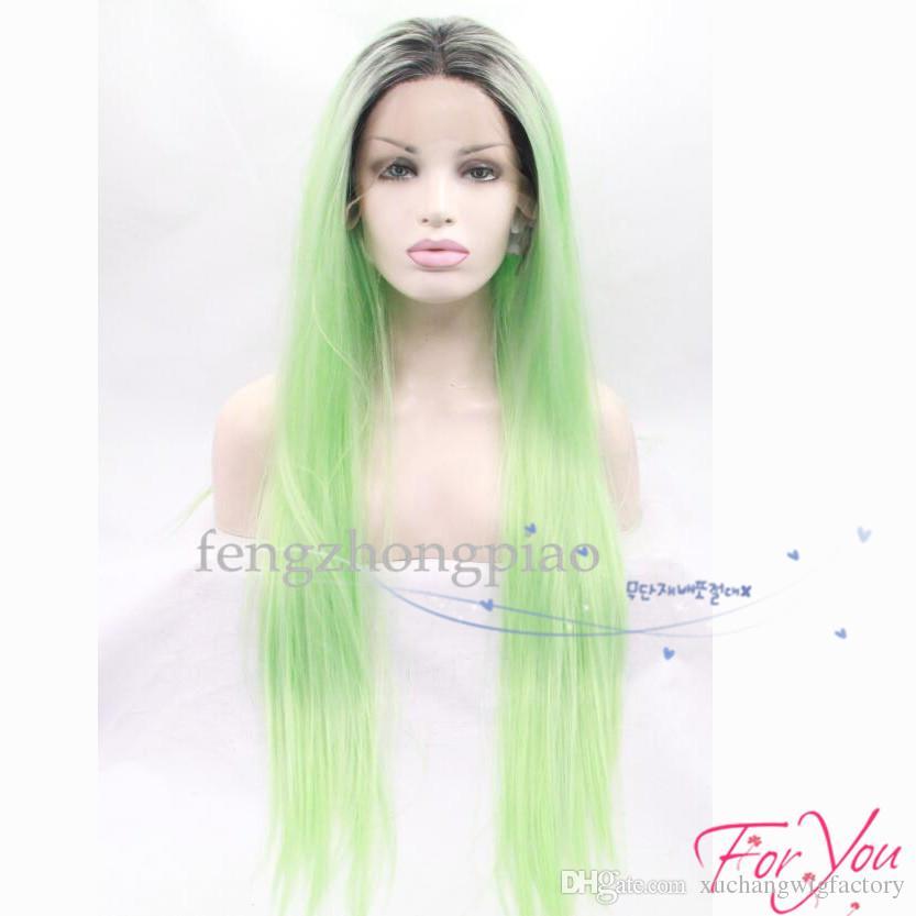Perucas Cosplay Ombre Mint Verde Longo Em Linha Reta Peruca Dianteira Do Laço Sintético Resistente Ao Calor Glueless Dois Tons Preto Luz Verde cabelo para As Mulheres Negras