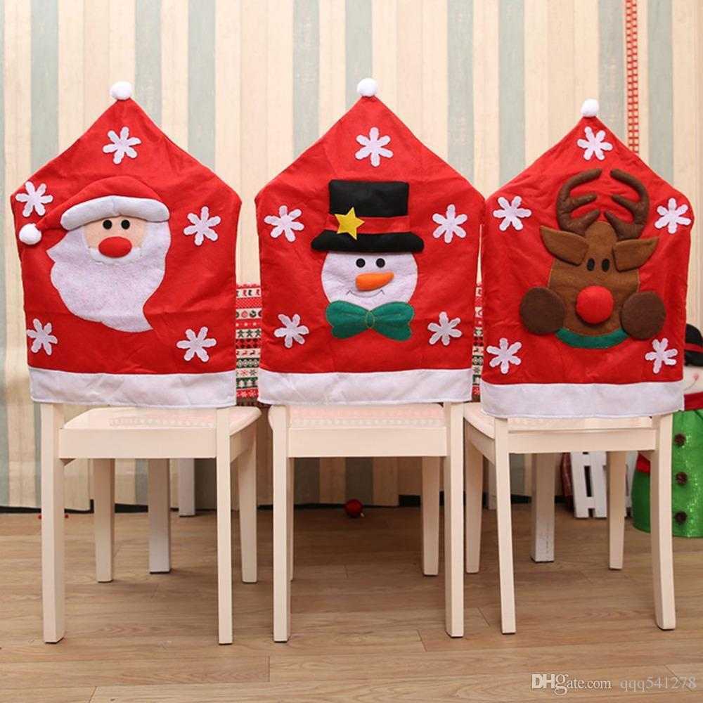 Christmas Chair Back Covers.Christmas Chair Covers Santa Claus Snowman Covers Elk Dining Chairs Back Covers For Kitchen Wedding Christmas Decoration Holiday Decoration Holiday