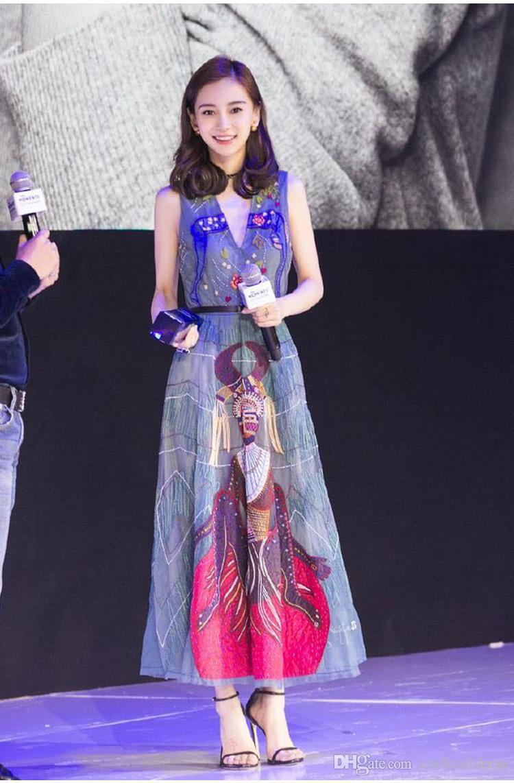 90s vestido colorido padrão floral impressão gráfica bordado feminina de alta qualidade flared vestidos decote profundo decote maxi verão vestidos