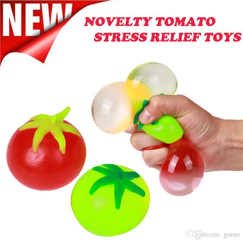 Bola de estrés Regalo Novedad Tomate en forma de juguetes Squeeze Alivio de estrés Bola de ventilación Regalo divertido Juguetes de descompresión