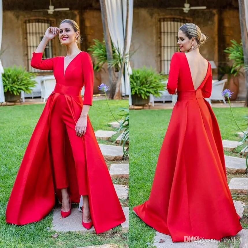 Krikor Jabotian Zarif Kırmızı Tulum Abiye ile Ayrılabilir Tren V Boyun Backless Abiye giyim Uzun Kollu Parti Kıyafeti Gelinlik Modelleri