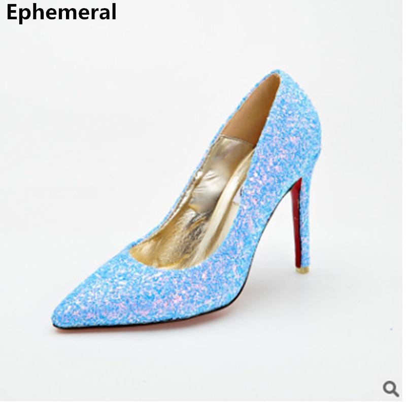 Cinderella High Heel Pumps Princess Stilettos Shoes for Women Bling Party Nigh Club Zapatos Silver Purple Luxury Plus Size 43 41