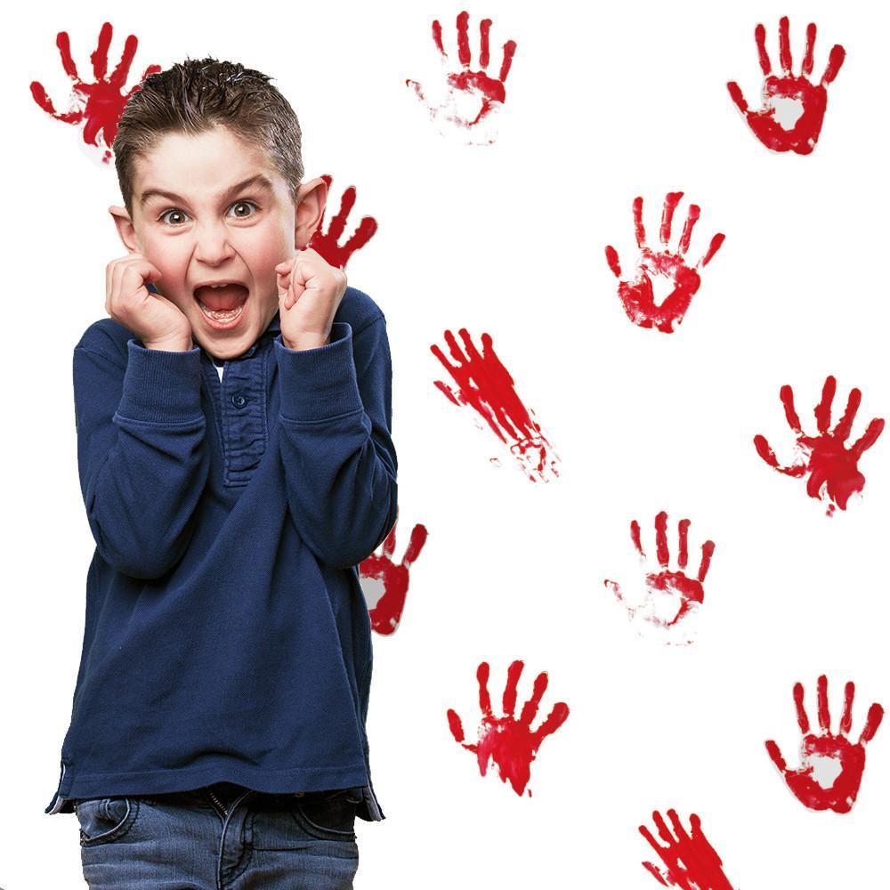 1 компл. = 6 листов = 24 шт. Кровавая ладонь стикер стены съемный DIY страшные красные отпечатки ладоней наклейки хэллоуин украшения