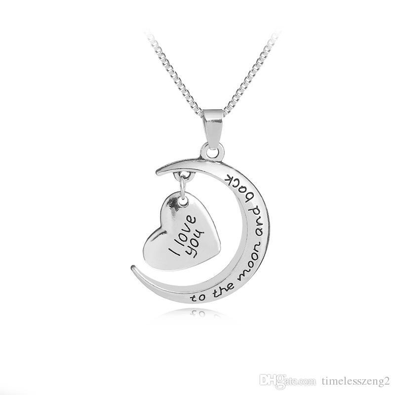 """Collar colgante de la luna del corazón de las mujeres """"Te amo a MoonBack"""" cadena clavicular cumpleaños regalo agradable del día de San Valentín"""