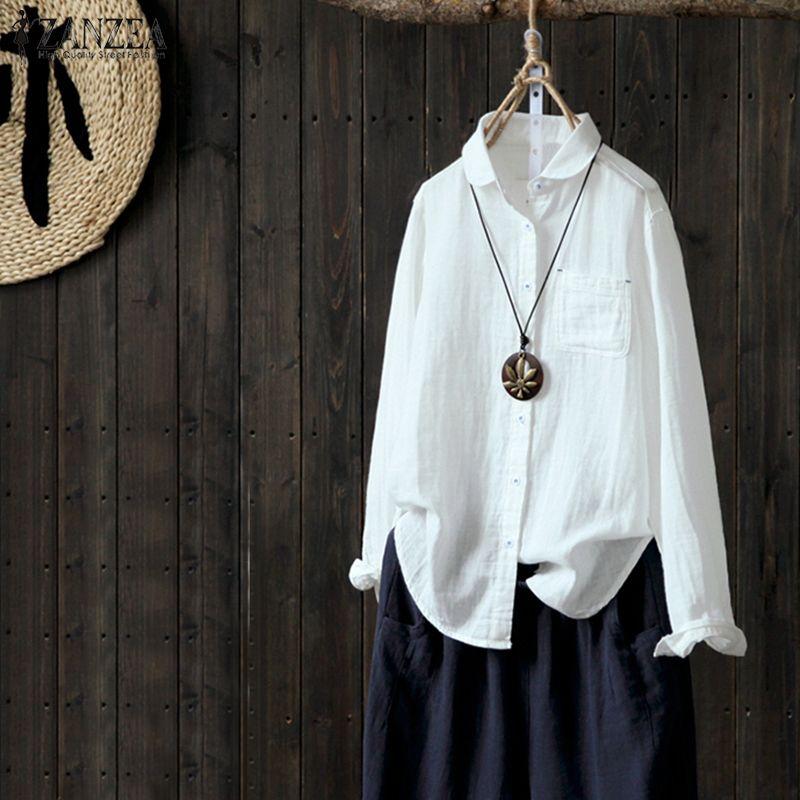 ZANZEA Women Autumn Blouse Lapel Neck Long Sleeve Buttons Down Solid Shirt Casual Cotton Linen Work White Top Feminina Blusas