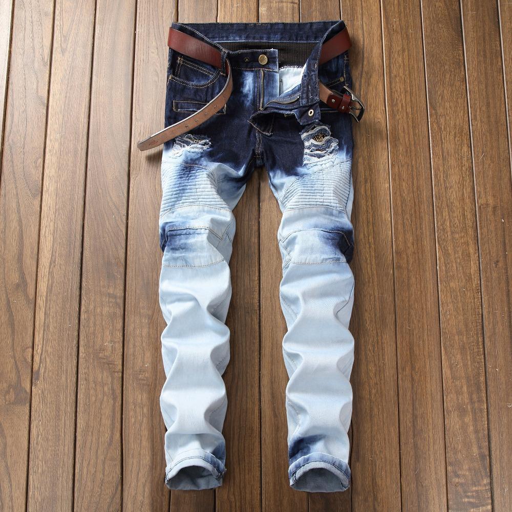 2018 patch di jeans strappati uomini del foro di modo nuovo di alta qualità dei jeans slim fit marca degli uomini del motociclista denim 6612 #