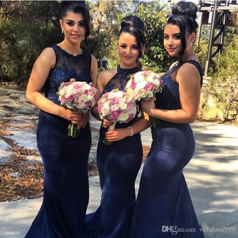 Plus Size junior Bridesmaid Dresses 2018 Sexy Mermaid Long Party Prom Dresses With lace Applique Mixed Style Party Dresses