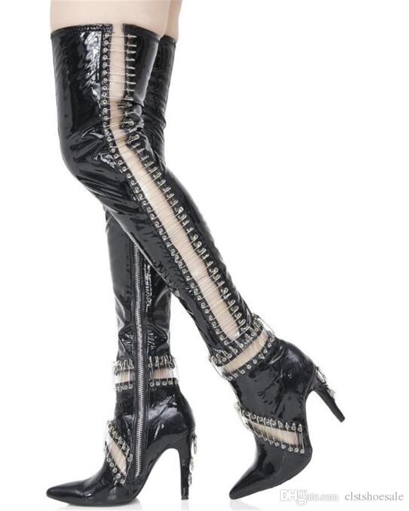 Newest Women Fashion Pointed Toe Black Patent Leather Pin Over Knee Gladiator Boots Cut-out Thigh High Heel Boots Dress Shoes