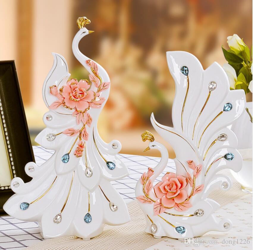 Pavão branco cerâmica amantes home decor artesanato decoração do quarto artesanato ornamento estatueta de porcelana animal decoração do casamento