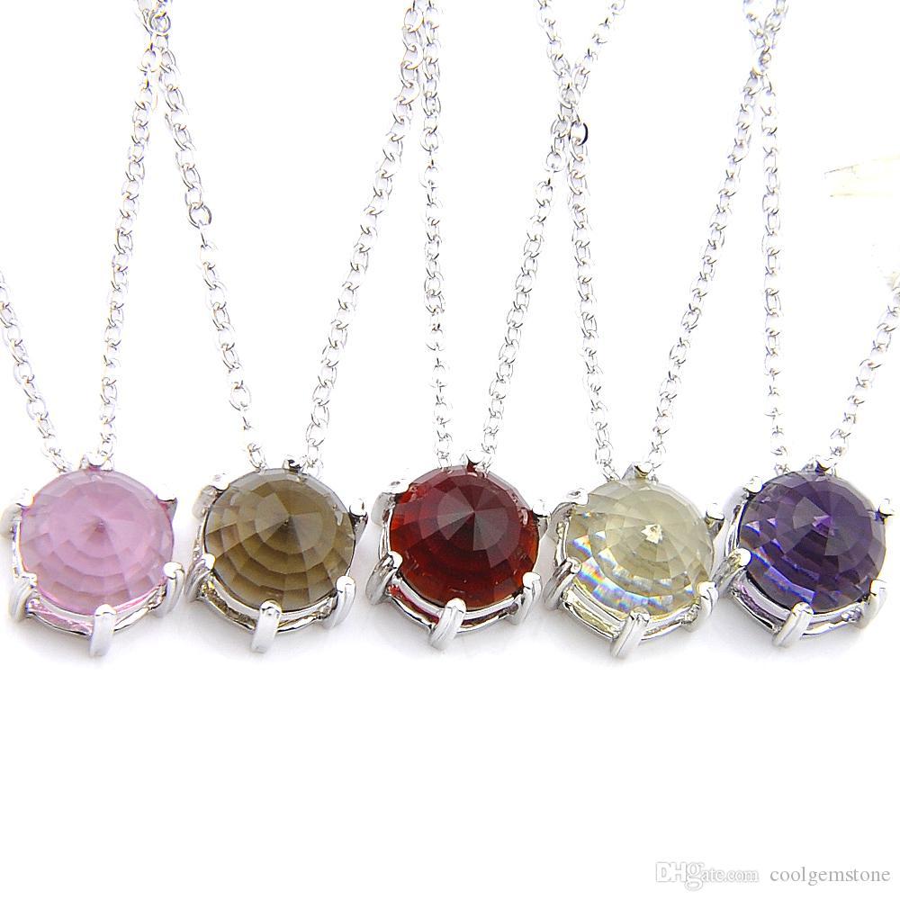 اختياري متعدد الألوان 6 قطع / لوط موضة مجوهرات فضة جولة كريستال BI-COLORED التورمالين الأحجار الكريمة والمجوهرات سلاسل قلادة المعلقات لسيدة