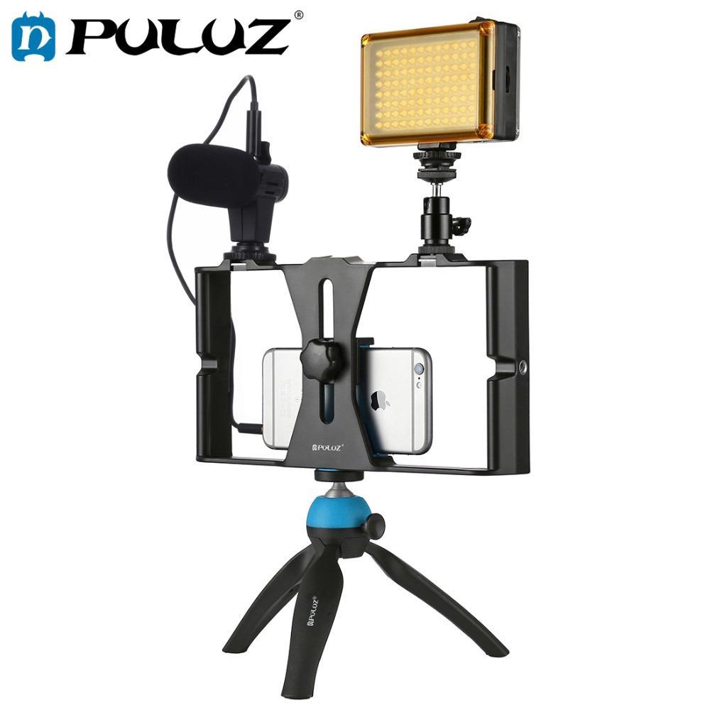 Toptan Smartphone Video Rig + LED Stüdyo Işık + Video Mikrofon + Mini Tripod Dağı Kitleri ile Soğuk Ayakkabı Tripod Kafası için iPhone