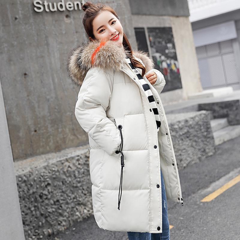 2018 Inverno nova chegada mulheres com capuz para baixo casaco de gola de pele zíperes longo para baixo casaco feminino inverno quente mulheres jaqueta