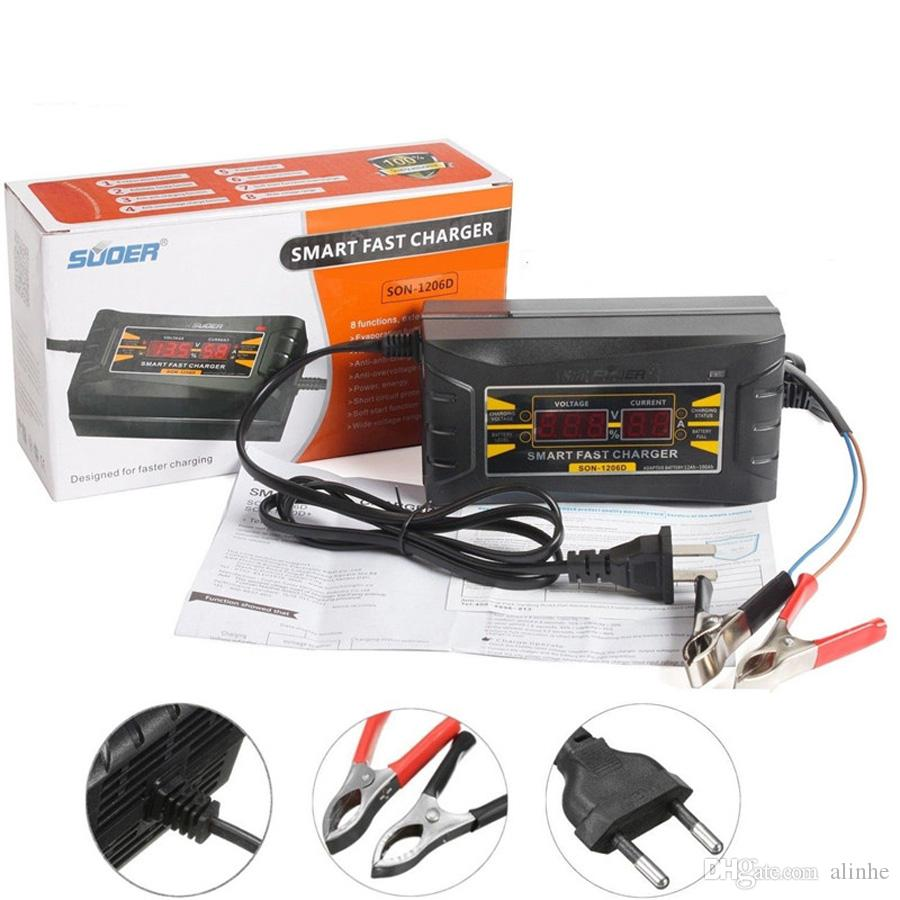 12V 6A Smart Auto Car Lead-acid Battery Charger LCD Three-phase Charging US Plug