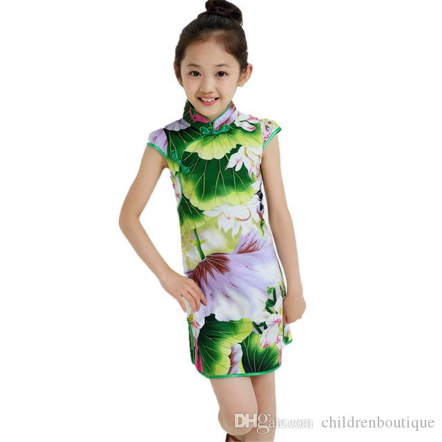 Chinese Style Traditional Dress Vintage Floral Pattern Girls Dresses Cheongsam Wedding Party Costume Summer Children Clothing 3-14Y