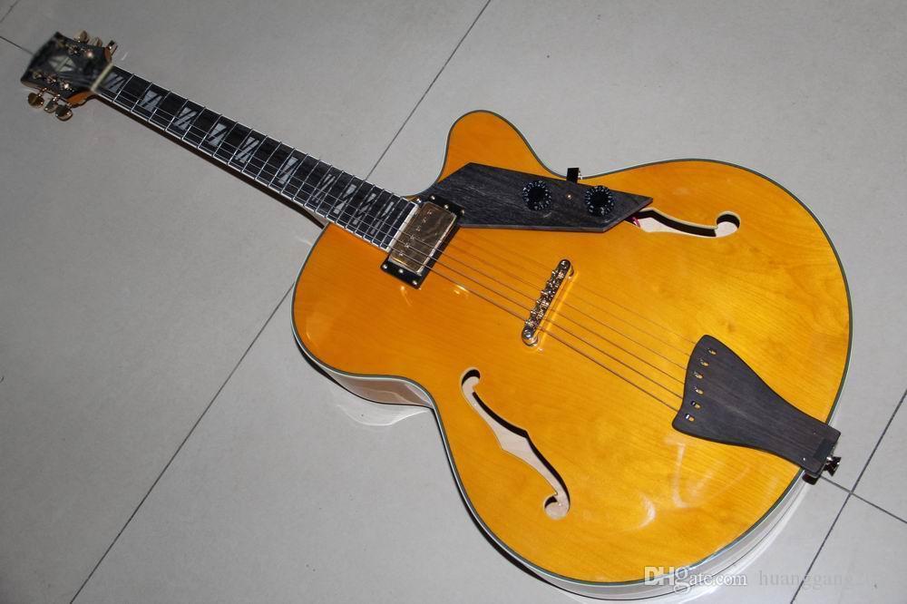 Kostenloser Versand Großhandel Neue Cibsones 175 L-5 Modell Jazz E-gitarre Semi Hollow Top-qualität In Gelb 120930