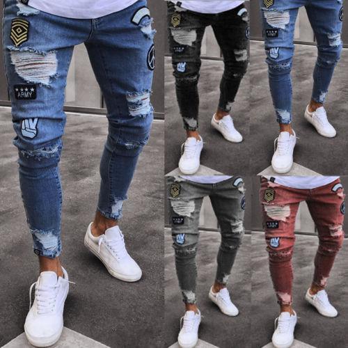 Schwarze Skinny Jeans Herren Feder Schlank Hose Löcher Große