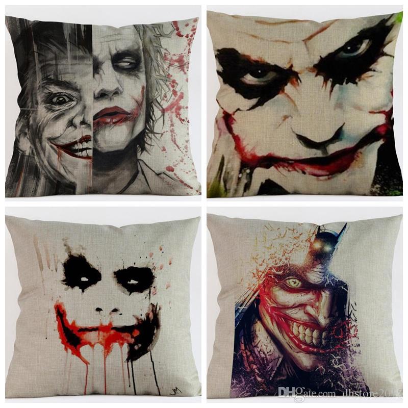 Cushion Cover Linen Batman Joker Printed Pillows Cover Car Sofa Decorative Pillowcase Home Decorativos Throw Pillow Case 45x45cm