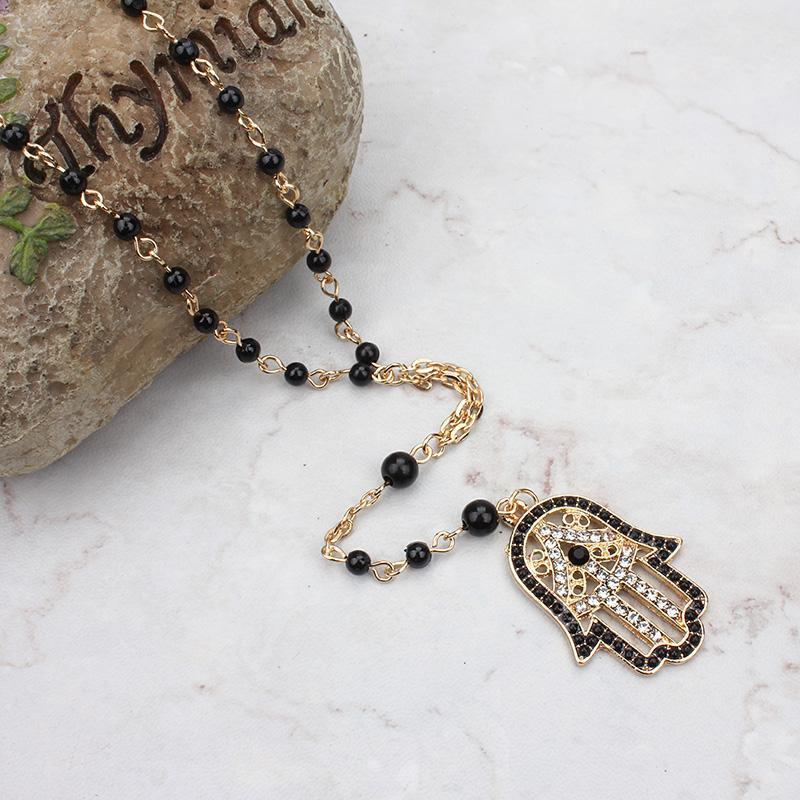 Evil Eye Fashion Black Beads Necklace Evil Eye Hamsa Charm con chiusura a moschettone Collana regolabile Migliori gioielli per donna ragazza