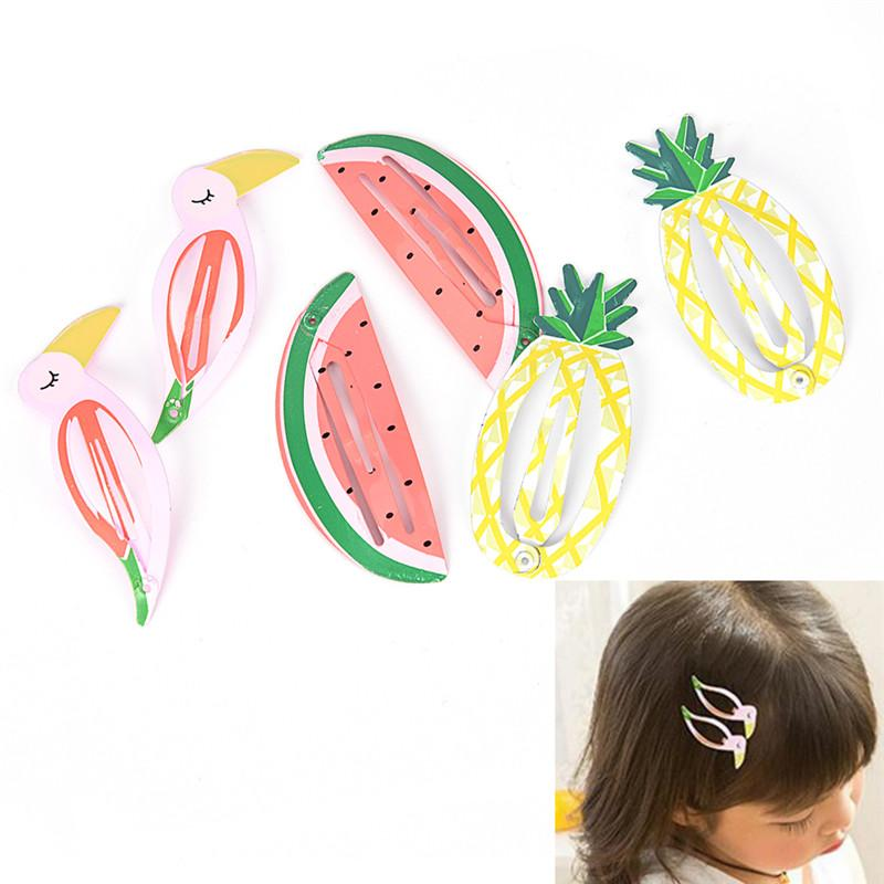 New 2 Pcs Girls Baby Kids Children Hair Accessories Slides Snap Hair Clips