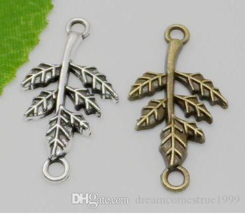 100 unids antiguos conectores de hoja de plata colgante de los encantos para el collar joyería que hace hallazgos 32x17mm