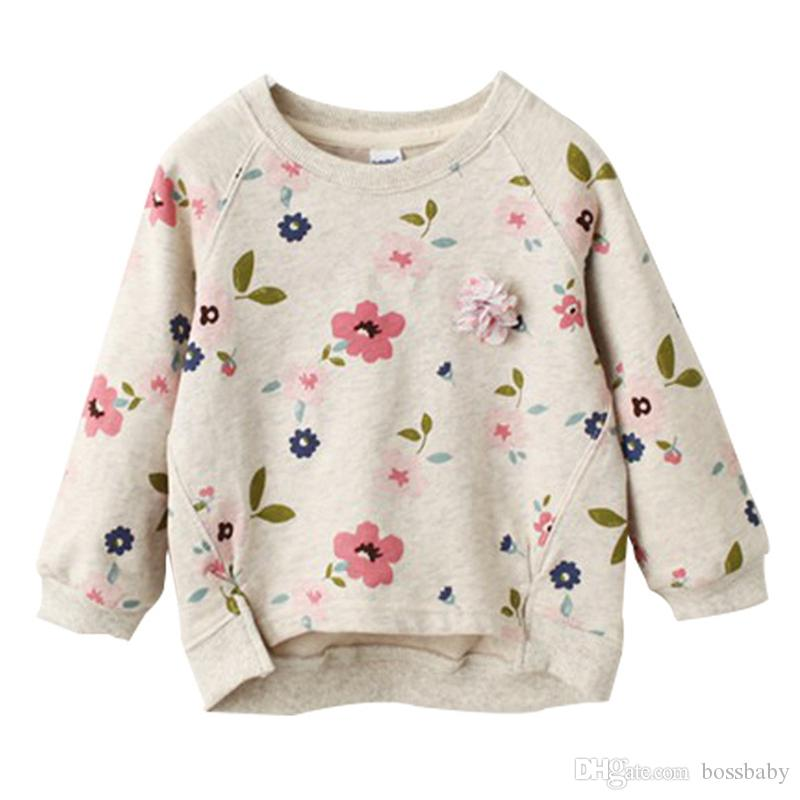 Çocuklar Çiçek Kazak Süveter Tekne Yaka Uzun Kollu Bebek Kız Boş Giyim Bebek İlkbahar Yaz Hem Kısa Ön Uzun Arka 3-7T Salıncak