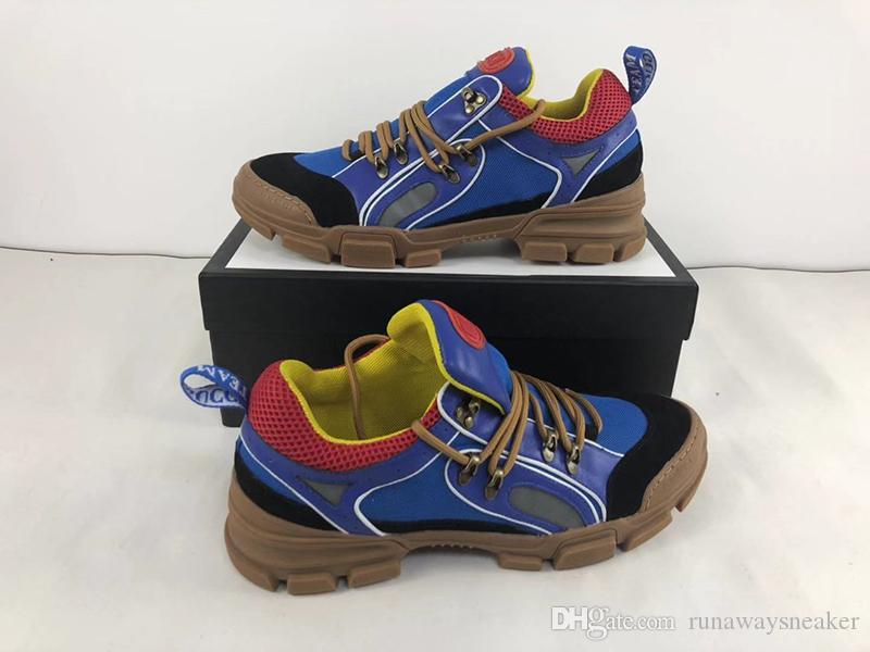 botas de diseño en dificultades italiano de alta calidad superior de cuero hombre de la zapatilla de deporte de la lona FlashTrek nueva moda vestir exteriores de las mujeres a la venta tamaño grande 12