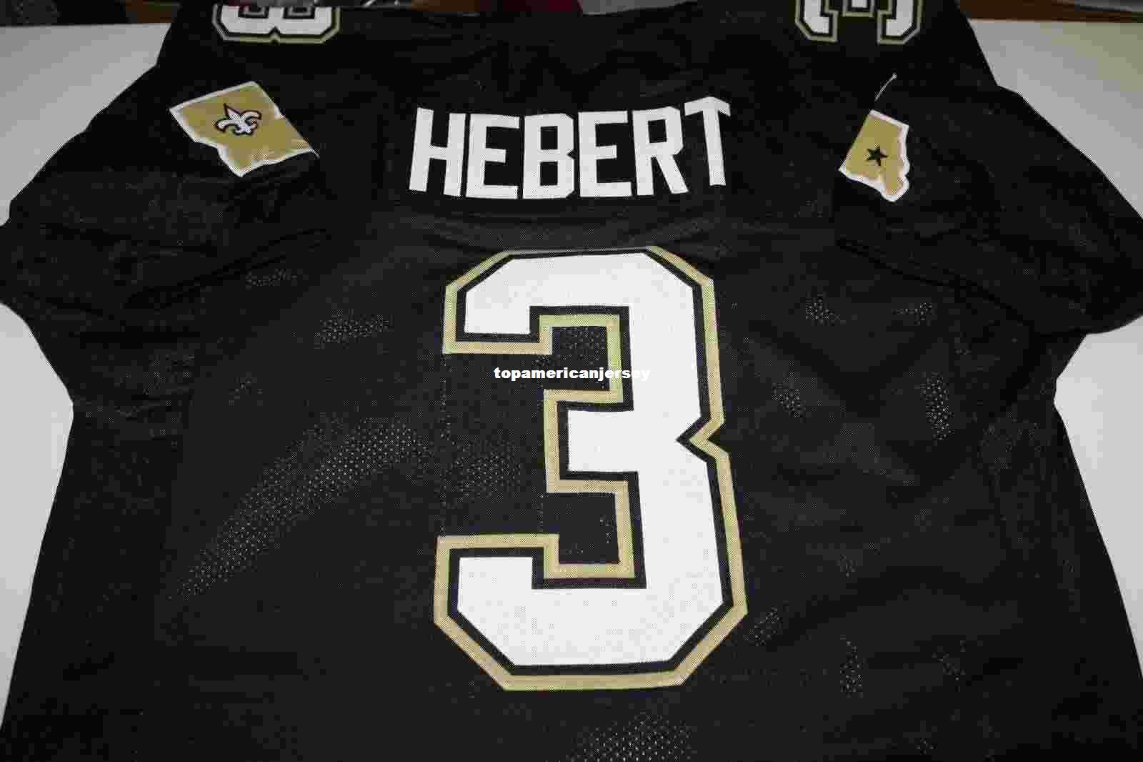 2021 Cheap Retro BOBBY HEBERT #3 CUSTOM MITCHELL & NESS Jersey BLACK Stitching Mens Football Jerseys Running From Topamericanjersey, $18.26   ...