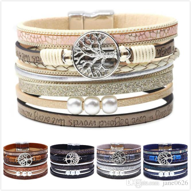 Tree of Life Leather Cuff Bracelet Engraved Wrap Bangle with Pearl for Women Teen Girl Boy Gift