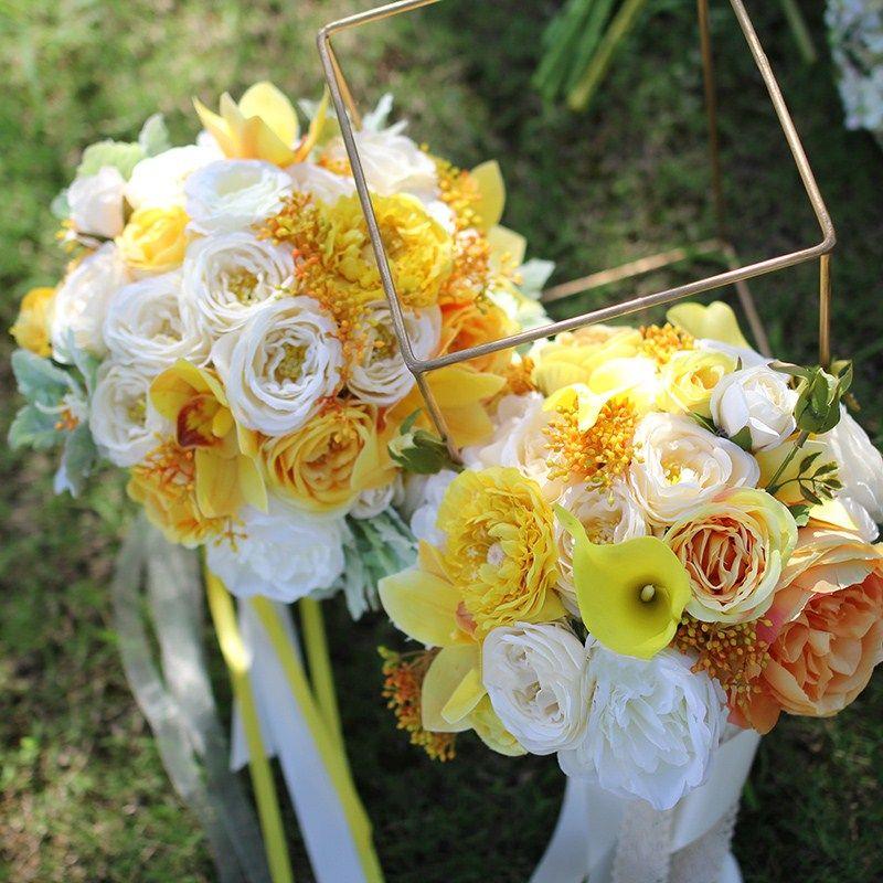 Bouquet Sposa Giallo.Acquista Janevini 2018 Giallo Bouquet Da Sposa Fiori Matrimonio