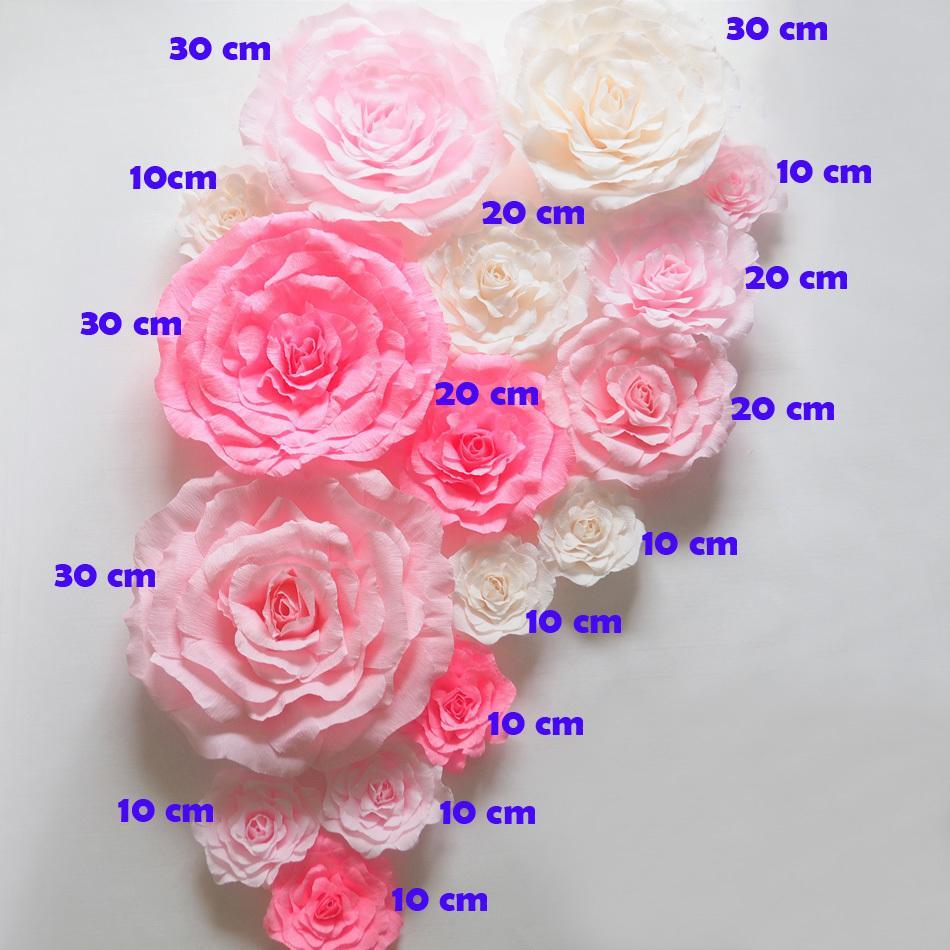 Krep Büyük Kağıt Çiçekler Düğün Zemin 16 adet El Yapımı Yapay Krep Kağıt Parti Düğün Süslemeleri Moda Göstermek Için Gül