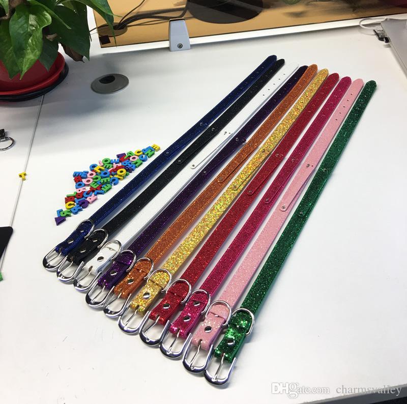 10 unids 8 * 100mm + 18X550mm Bling Color Mezclado Collar de Perro de Mascota de Cuero de La Pu Cuello Cadena de DIY Nombre de Mascota Por 8mm diapositivas encantos letras