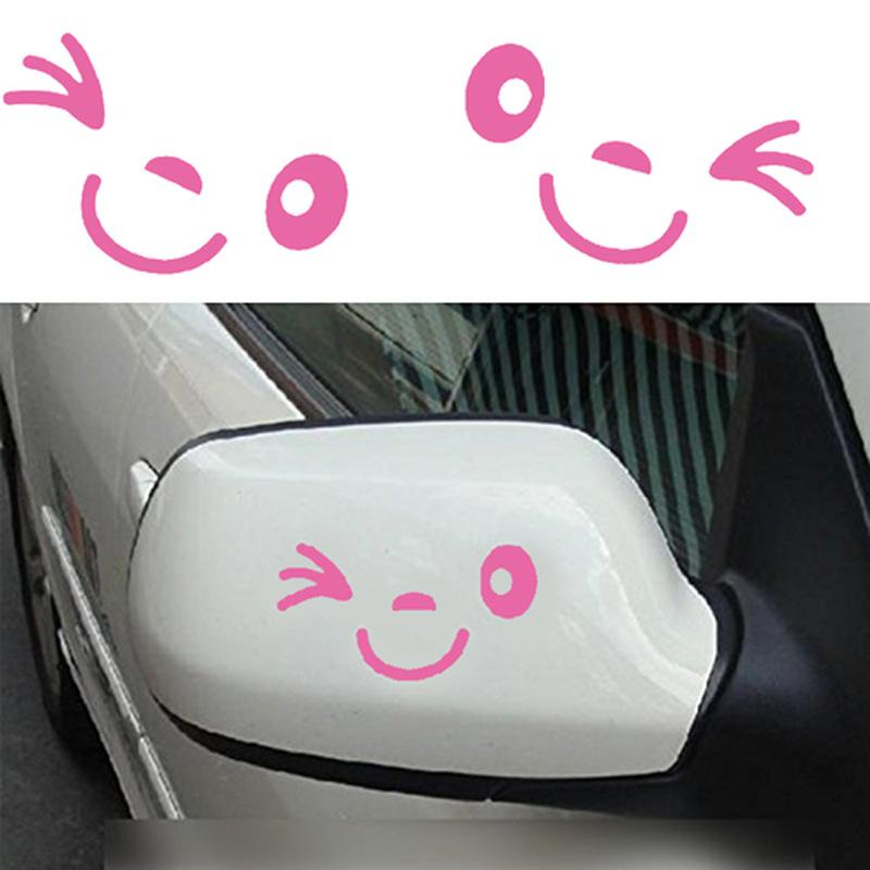 7 color Eyelash Car Sticker Smiley Face Exterior Accessory Rear Mirror Reflective Tape Cute Smile