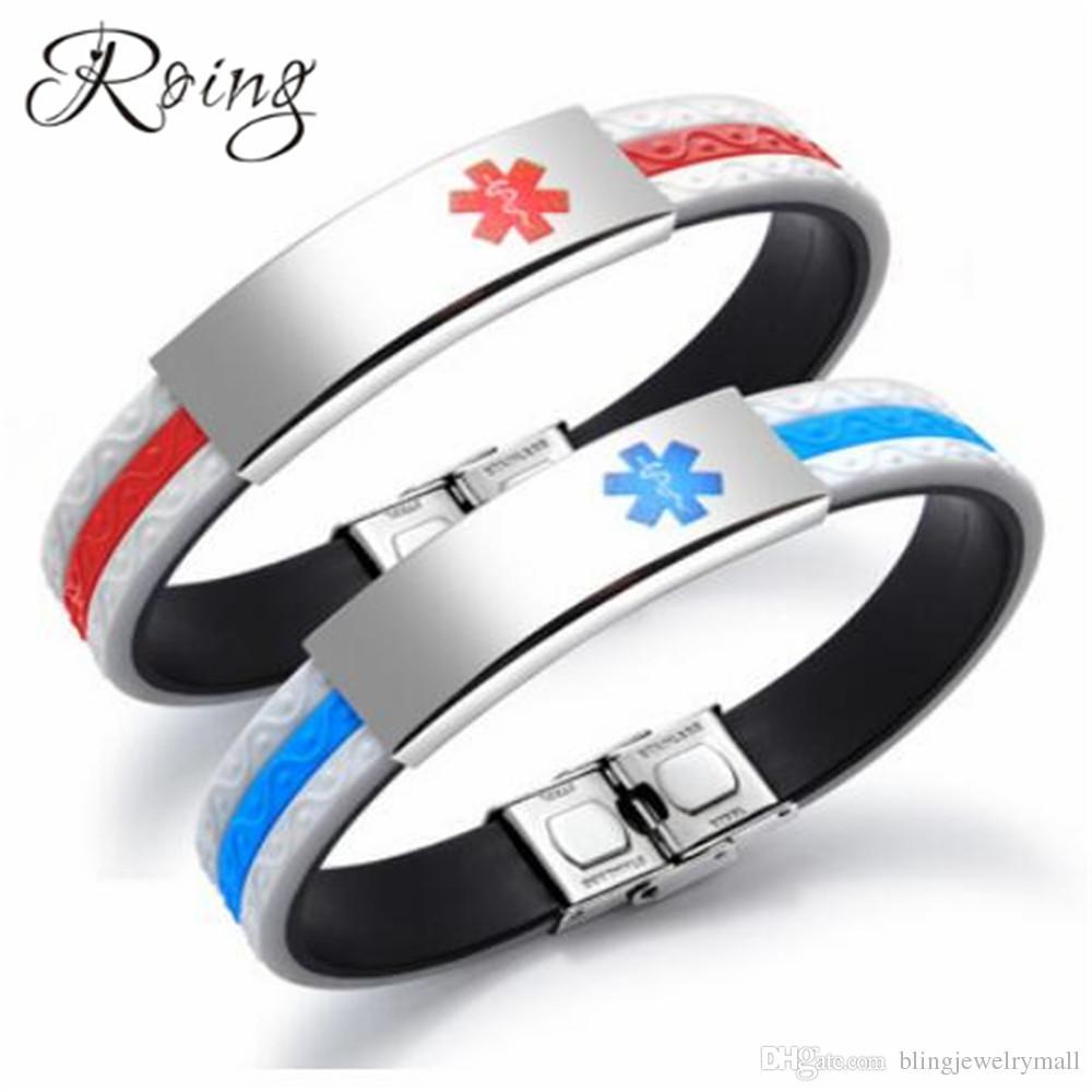 Roing Medical Alert Silicone Bracelet Stainless Steel ID Strap Medical Alert Bracelets For Men Women Red Blue Bracelet RO1298