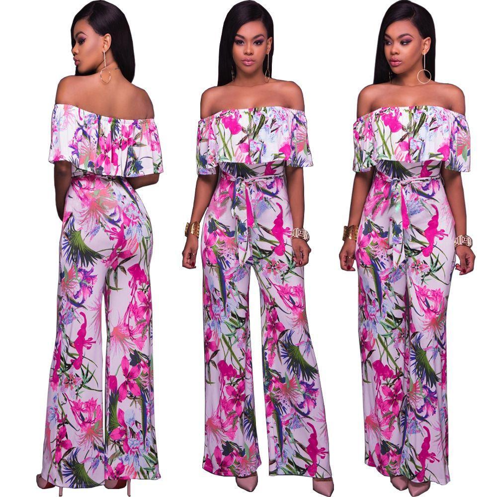 2018 novo estilo quente moda feminina impresso folwers macacões senhoras calças compridas ropa pantalones de mujeres y chicas señoritas