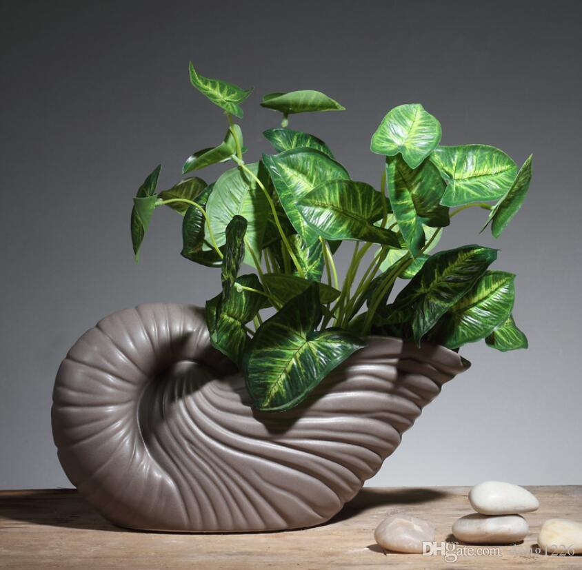Minimalista creativo conchiglia fiori vaso vaso casa arredamento artigianato camera decorazioni di nozze figurine di porcellana artigianato