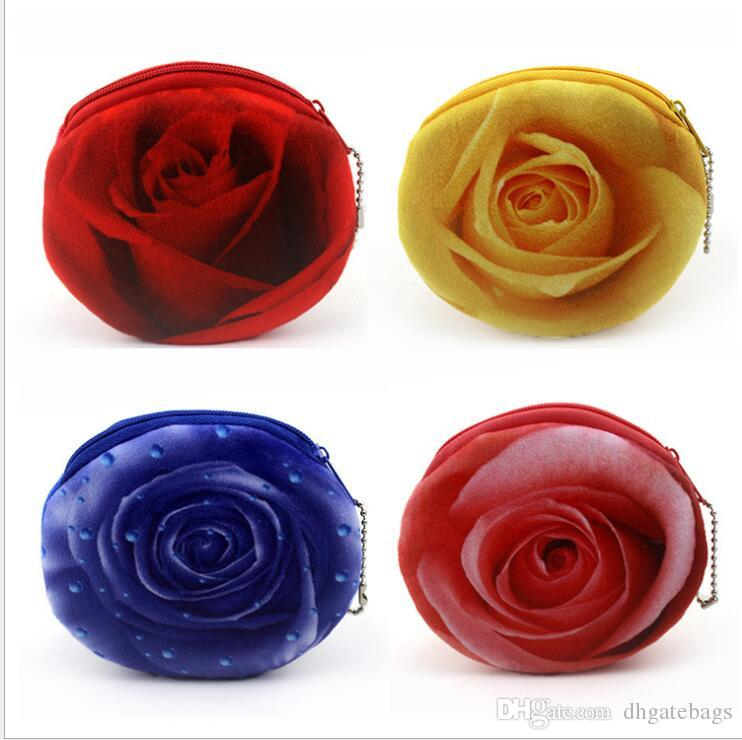 Creative 3D Printing Rose Flower Coin Purse Mini Soft fabric Small Wallet Card Bag for Girls kye case money bag