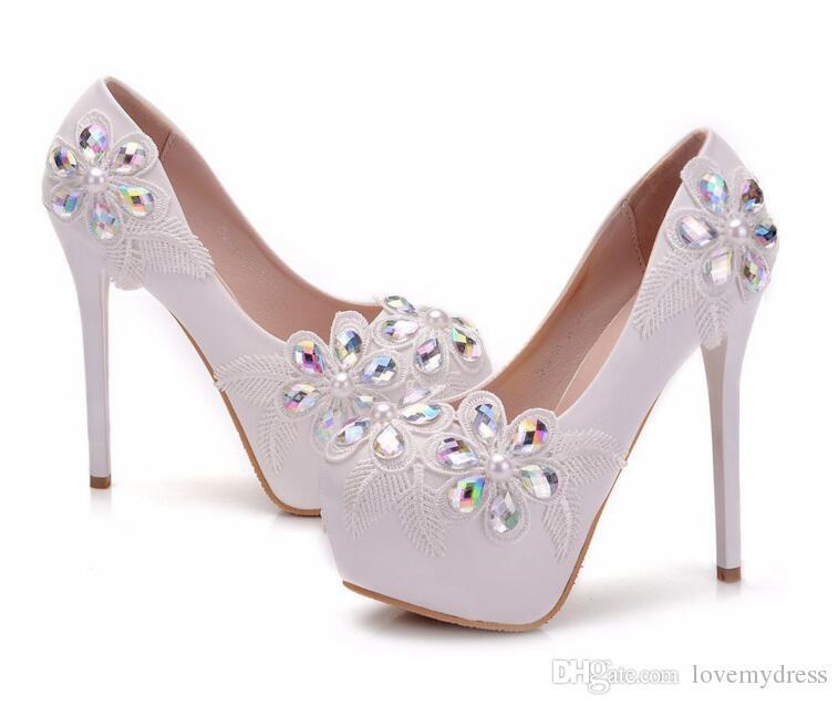 Fashion White Lace Crystal Wedding Shoes Women Designer Platform 4.5 cm High Heel 14 cm Closed Toe Bridal Shoes Pumps For Bride Cheap