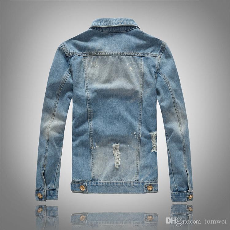 Outwear coreano in forma Slim Mens Denim Abbigliamento Abbigliamento Moto 2021 Cappotti strappati Biker Giacche Balli da motociclista Fresatura Nuovo Arrivo Light Blue BJRDS
