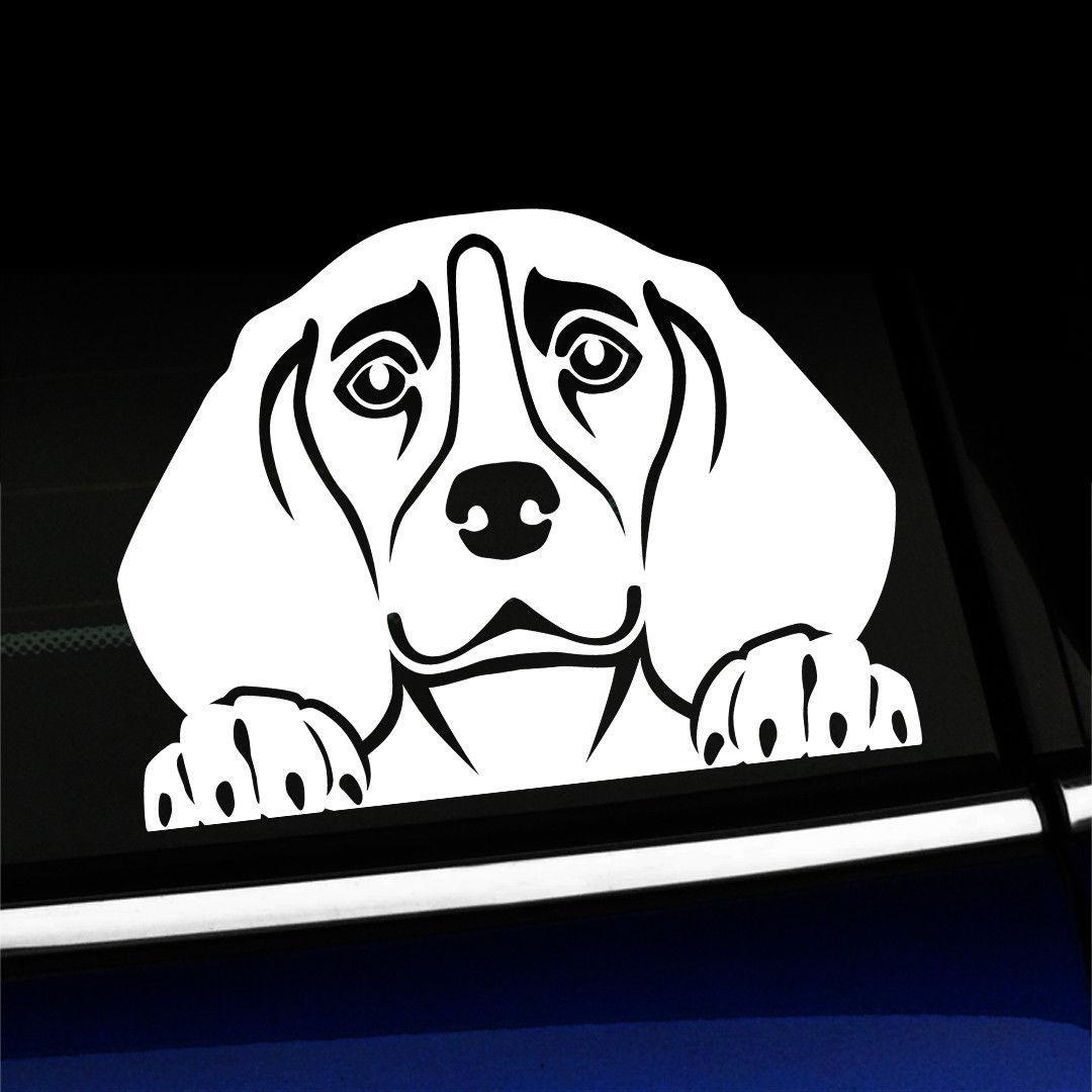 15 * 10.7 cm Espreitar Beagle Cão Bonito Hound Adesivo Decalque Acessórios Do Carro Bonito E Interessante Moda Adesivo Decalques