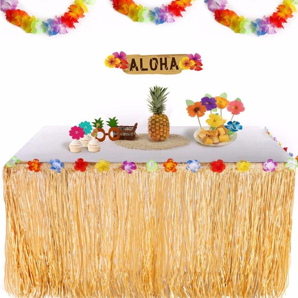 Красочные Цветы Искусственная Трава Таблица Юбка Гавайские Украшения Партии Luau Свадьба Событие Таблица Декор Поставки