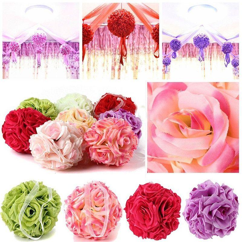 15cm Artificial Silk Flower Rose Kissing Balls Bouquet Centerpiece Pomander Party Wedding Centerpiece Home Decorations Valentine's Day