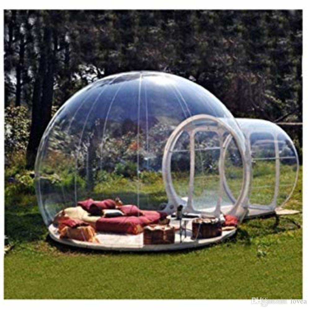 Acheter Chambre Gonflable De Tente De Bulle Tentes Transparentes De Dome D Air De Jardin De Camping Avec Le Ventilateur Libre De Ce Ul Et Le Kit De